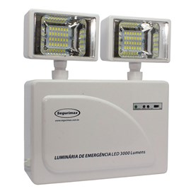 Luminária de Emergência LED 3000 Lumens e 2 Faróis Segurimax