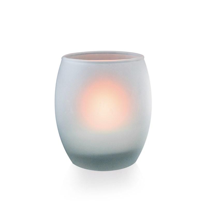 Luminária LED Vela Decorativa Ambar em Copo de Vidro Fosco Luminatti