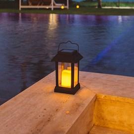Luminária LED Vela Decorativa de Energia Solar Luz Âmbar Ecoforce