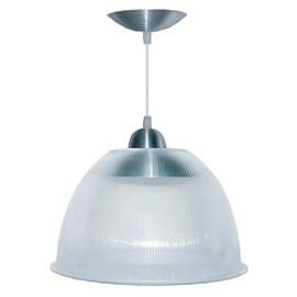 """Luminária Prismática de 12"""" Cristal com Pendente em Alumínio Escovado LL12.EC - LunarLux"""