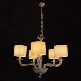 Lustre Cristal 5 Lâmpadas Transparente com Cúpulas Eletrorastro