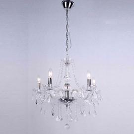 Lustre Cristal Transparente 5 Lâmpadas Maria Thereza Arquitetizze