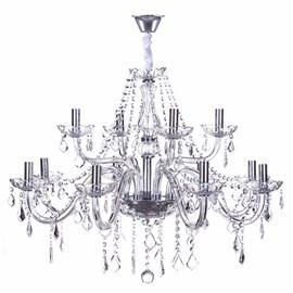Lustre Maria Thereza Cristal Transparente 12 Lâmpadas Arquitetizze