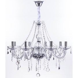 Lustre Maria Thereza Cristal Transparente 8 Lâmpadas Arquitetizze