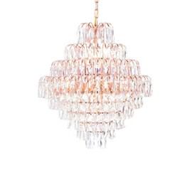 Lustre Rose Cristais Clear K9 60x65cm JLR Iluminação