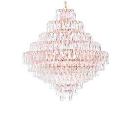 Lustre Rosê e Cristal 80CM JLR Iluminação