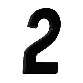 """Número Residencial 3D """"2"""" Plástico ABS Preto Metalcromo"""