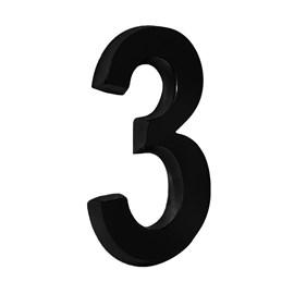 """Número Residencial 3D """"3"""" Plástico ABS Preto Metalcromo"""