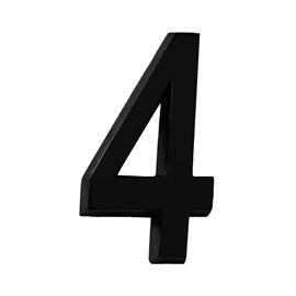 """Número Residencial 3D """"4"""" Plástico ABS Preto Metalcromo"""
