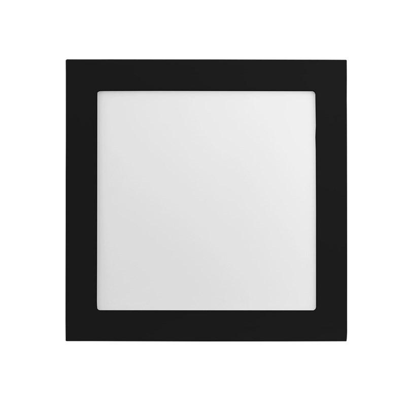 Painel LED de Embutir Jet Black 25W Luz Neutra Quadrado Preto Bivolt Save Energy