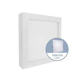 Painel LED de Embutir ou Sobrepor 12W Luz Branco Quente Quadrado Bivolt Empalux