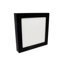 Painel LED de Sobrepor Jet Black 20W Luz Branca Quadrado Preto Bivolt Save Energy