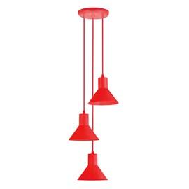 Pendente Collor 3 Lâmpadas Vermelho Dital