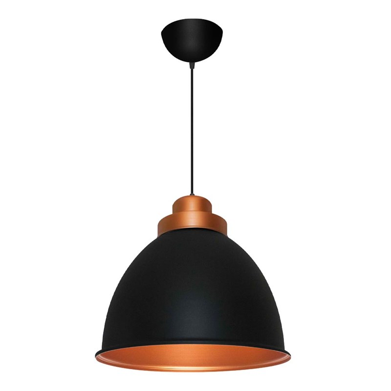 Pendente Decor Industrial 31cm Preto/Cobre Itamonte