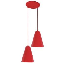 Pendente Loft Cone Pequeno 2 Lâmpadas Vermelho Dital