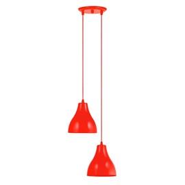 Pendente Loft Pequeno 2 Lâmpadas Vermelho Dital