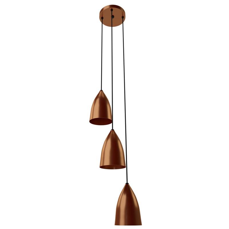 Pendente Luce Bronze 3 Lâmpadas Orluce