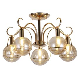 Pendente Metal Dourado 5 Lâmpadas Sindora