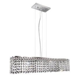 Pendente Milano Cristal Transparente Retangular 4 Lâmpadas Bronzearte