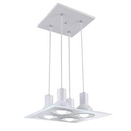 Pendente Multhi 4 Lâmpadas Quadrado Branco Espelhado Startec