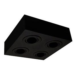 Plafon Box Preto Quadrado 28cm Para 4 Lâmpadas Par20 Bonin