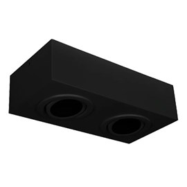 Plafon Box Preto Retangular 28x15cm Para 2 Lâmpadas Ar70 Bonin