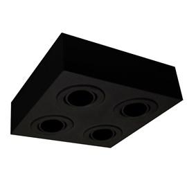 Plafon Box Quadrado 22cm 4 Lâmpadas Dicróica Preto Bivolt Bonin