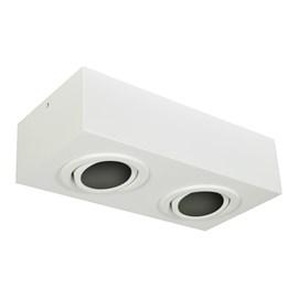 Plafon Box Retangular 28cm 2 Lâmpadas PAR20 Branco Bivolt Bonin