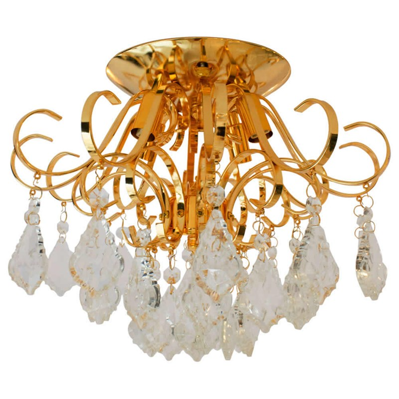 Plafon Cacho de Cristais Dourado 35cm Eletrorastro