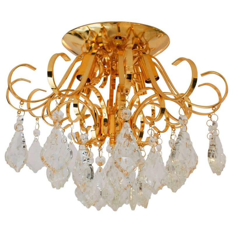 Plafon Cacho de Cristais Dourado Eletrorastro