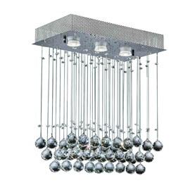 Plafon Cristal Ball Retangular com Cristais Cromado Bronzearte