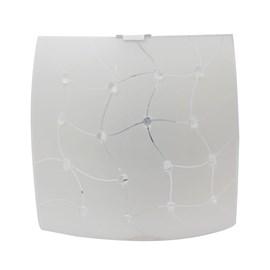 Plafon LED Trama Quadrado Transparente 20W Luz Branco Frio 127V Bronzearte