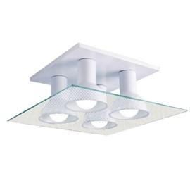 Plafon Multhi 4 Lâmpadas Quadrado Branco e Listrado Startec