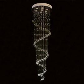 Plafon Redondo Espiral com Cristais 7 Lâmpadas Eletrorastro