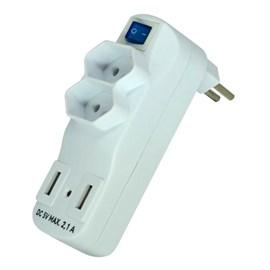 Plug Adaptador com 2 Saídas e 2 Portas Usb de 2.1 Exatron