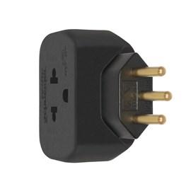 Plug Adaptador de Tomada Antigo Padrão Brasileiro para 2P+T 10A Preto Schneider