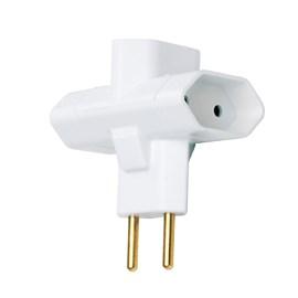 Plug T 10A 3 Saídas 2 Pólos Branco Ilumi