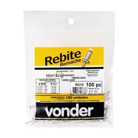 Rebite de Repuxo 3,2mm Alumínio 100 unidades Vonder
