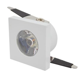 Spot de Embutir LED 1W Luz Amarela Bivolt Quadrado Branco Top Trade