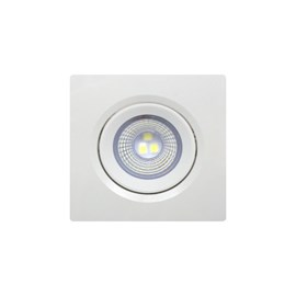 Spot de Embutir LED 3W Luz Branco Frio Bivolt Quadrado Branco Bronzearte