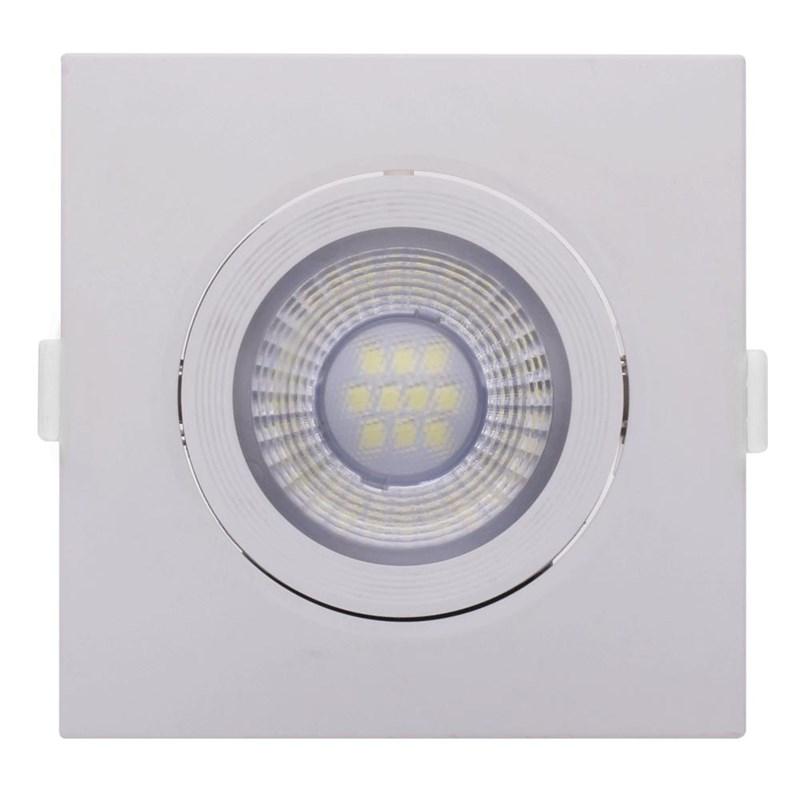 Spot de Embutir LED 6W Luz Branco Quente Bivolt Quadrado Branco Empalux