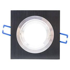 Spot de Embutir Quadrado Quad Dicróica Alumínio Preto iNovelti