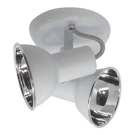 Spot de Sobrepor Boca Alumínio 2 Lâmpadas Branco JM Iluminação