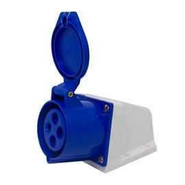 Tomada Blindada De Sobrepor 3 Pinos + Terra 32A 220V Azul Eletrorastro