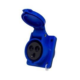 Tomada Blindada Embutir 2P+T 16A 6H 250V Azul Eletrorastro