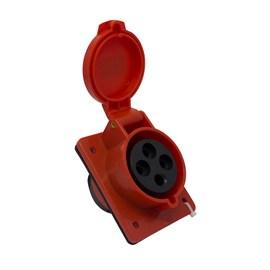 Tomada Blindada Embutir 3P+T 32A 415V Vermelha Eletrorastro