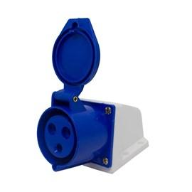 Tomada Blindada Sobrepor 2P+T 16A 250V Azul Eletrorastro