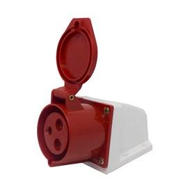 Tomada Blindada Sobrepor 2P+T 32A 415V Vermelho Eletrorastro