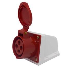 Tomada Blindada Sobrepor 3P+T 16A 380V Vermelha Eletrorastro