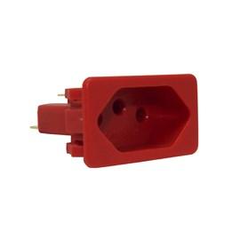 Tomada para Painel Elétrico 10A 2P+T com Poço Interno Vermelha Margirius